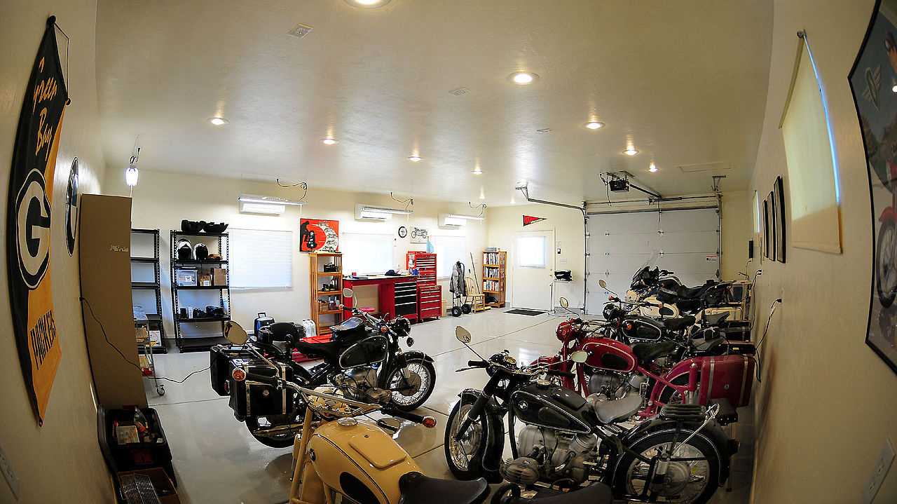 man cave motorcycle garage space