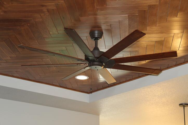 reclaimed wood used as inlay in tray ceiling