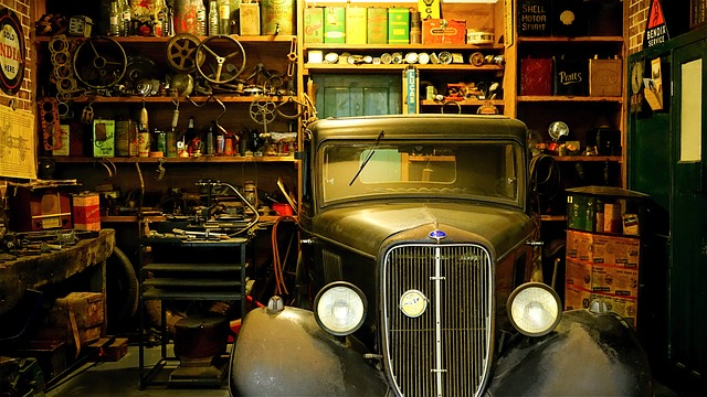 cluttered garage workshop antique vintage car